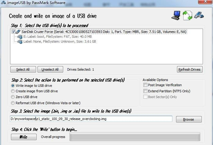 Select the image file to write to the usb driver